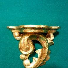 Antigüedades: MÉNSULA DE MADERA TALLADA Y DORADA EN ORO FINO.. Lote 88344048