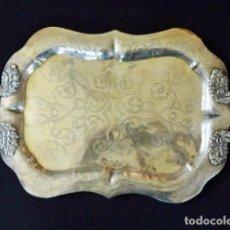 Antigüedades: BANDEJA DE PLATA BATIDA CON MARCAS DE PLATERO. CÓRDOBA 1859. A. CASTEJÓN Y J. DE LEÓN. 42 CM.. Lote 88360076