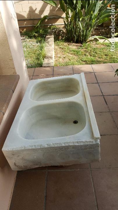 antigua pica pila fregadero de marmol blanco doble con senos x x