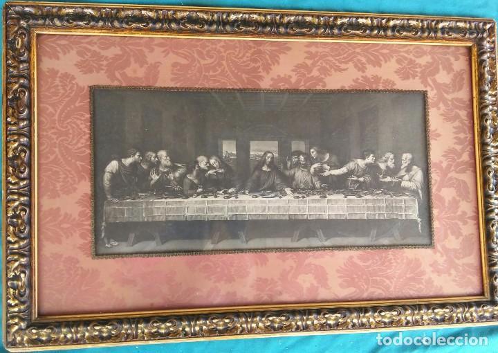 Antigüedades: Antigua Santa cena de tela estampada ,enmarcada y con cristal protector - Foto 2 - 88372340