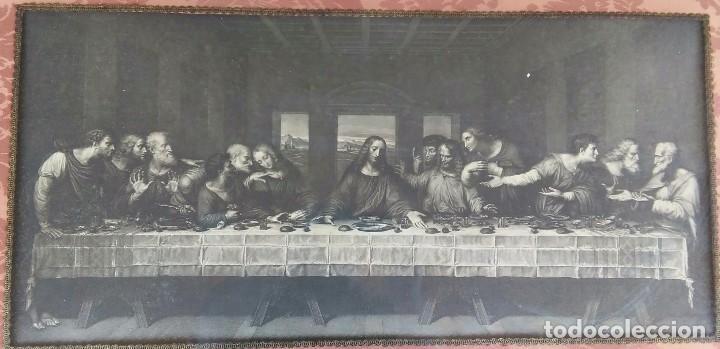 Antigüedades: Antigua Santa cena de tela estampada ,enmarcada y con cristal protector - Foto 4 - 88372340
