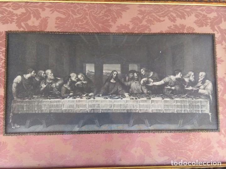 Antigüedades: Antigua Santa cena de tela estampada ,enmarcada y con cristal protector - Foto 5 - 88372340