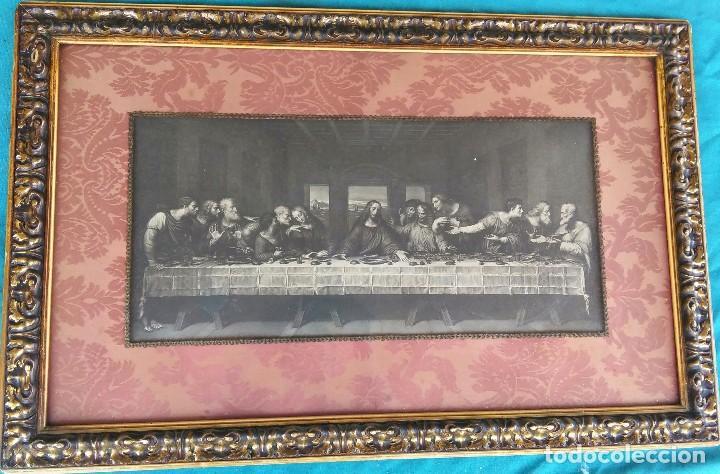 Antigüedades: Antigua Santa cena de tela estampada ,enmarcada y con cristal protector - Foto 6 - 88372340