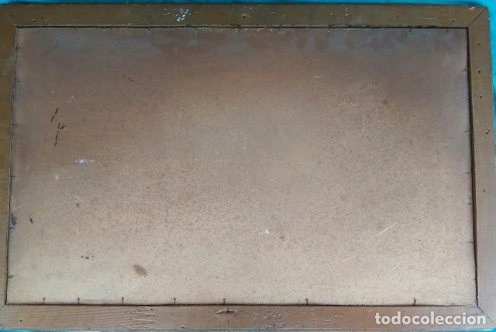 Antigüedades: Antigua Santa cena de tela estampada ,enmarcada y con cristal protector - Foto 7 - 88372340