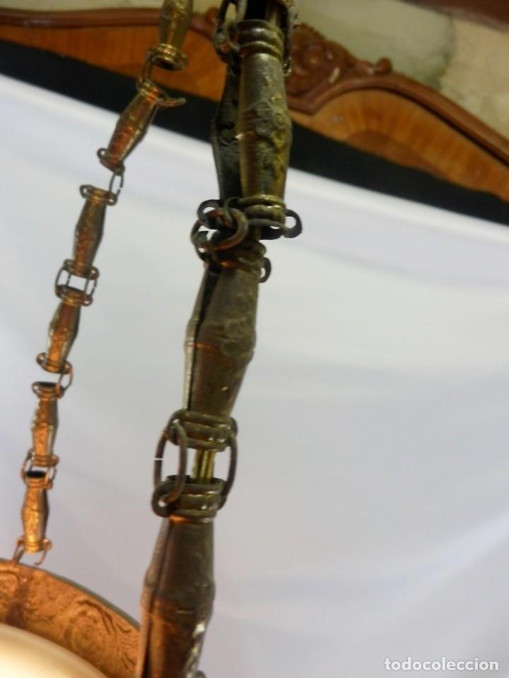 Antigüedades: Lámpara modernista con gran Globo en cristal glaseado. Años 1890-1900 - Foto 3 - 88518700