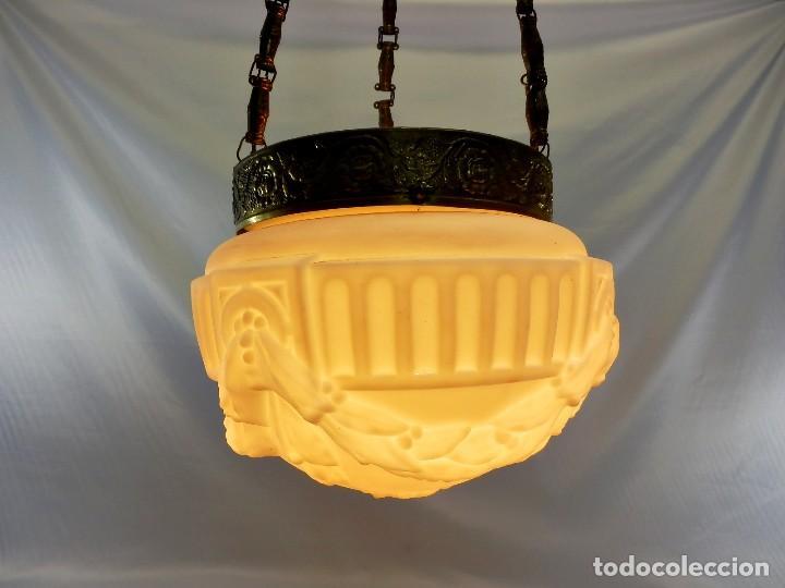 Antigüedades: Lámpara modernista con gran Globo en cristal glaseado. Años 1890-1900 - Foto 14 - 88518700