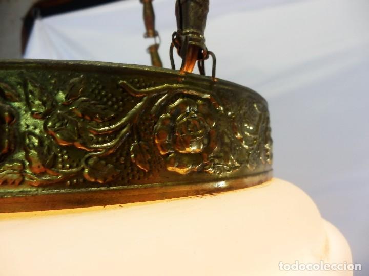 Antigüedades: Lámpara modernista con gran Globo en cristal glaseado. Años 1890-1900 - Foto 15 - 88518700