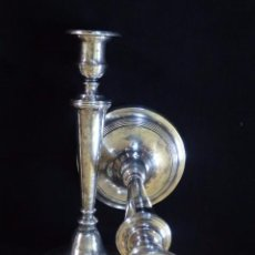 Antigüedades: GRANDES CANDELEROS DE PLATA CON MARCAS DE PLATERO. 28 CM. HUESCA SIGLO XVIII.. Lote 88593372