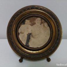 Antigüedades: MARCO PARA FOTOS CIRCULAR DE LATÓN. Lote 88725260