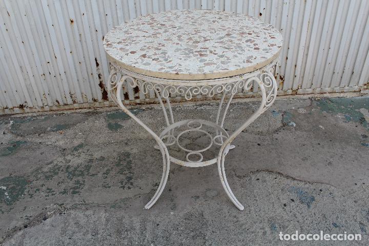 Mesa de jardin en hierro macizo y tablero de te comprar for Mesas de jardin de hierro