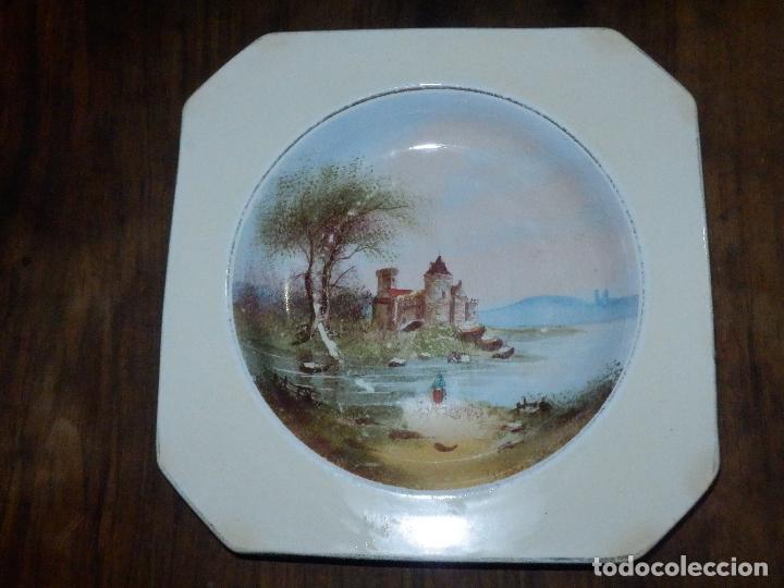 PRECIOSO PLATO OCHAVADO HONDO - PINTADO A MANO - PICKMAN - PRIMERA ÉPOCA - MUY ESCASO - CARTUJA (Antigüedades - Porcelanas y Cerámicas - La Cartuja Pickman)