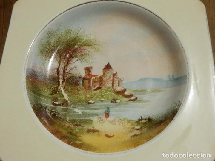 Antigüedades: Precioso Plato Ochavado Hondo - Pintado a mano - Pickman - Primera época - Muy escaso - Cartuja - Foto 2 - 88917136