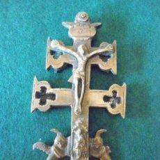 Antigüedades: CRUZ DE CARAVACA DE METAL EN DOS HOJAS. Lote 88923096