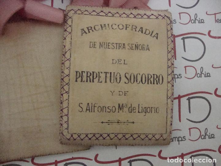 Antigüedades: (TC-107) ESCAPULARIO ARCHICOFRADIA NUESTRA SEÑORA DEL PERPETUO SOCORRO Y DE S. ALFONSO Mª DE LIGORIO - Foto 2 - 88931220