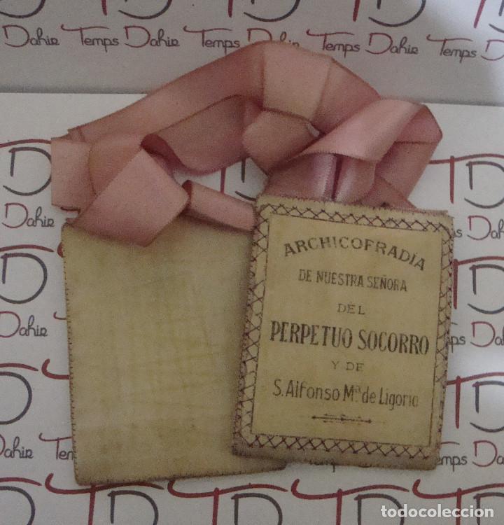 Antigüedades: (TC-107) ESCAPULARIO ARCHICOFRADIA NUESTRA SEÑORA DEL PERPETUO SOCORRO Y DE S. ALFONSO Mª DE LIGORIO - Foto 3 - 88931220