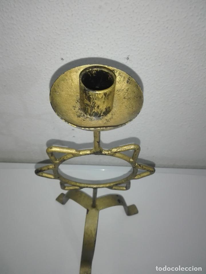 Antigüedades: precioso Portavelas de bronce con sol candelabro porta velas - Foto 2 - 88932776