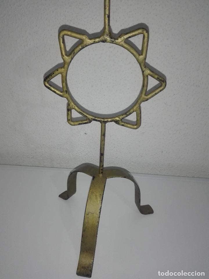 Antigüedades: precioso Portavelas de bronce con sol candelabro porta velas - Foto 3 - 88932776