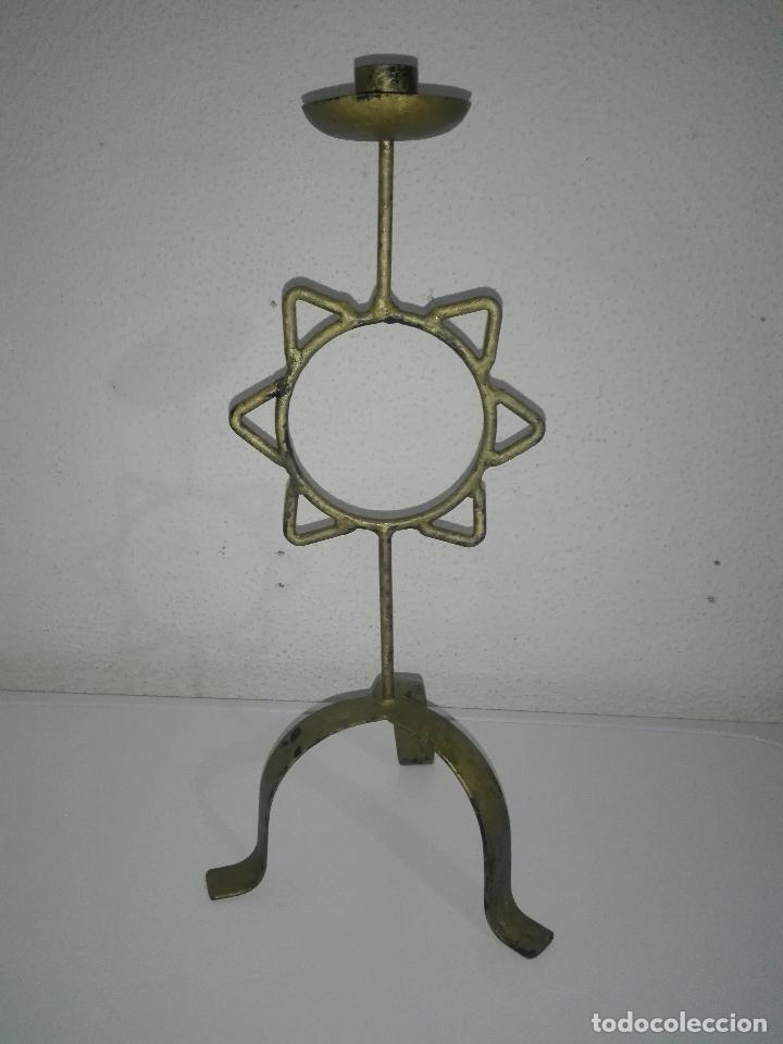 Antigüedades: precioso Portavelas de bronce con sol candelabro porta velas - Foto 4 - 88932776