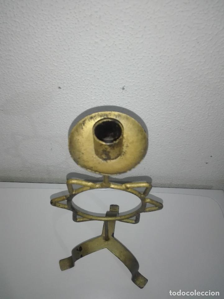 Antigüedades: precioso Portavelas de bronce con sol candelabro porta velas - Foto 5 - 88932776