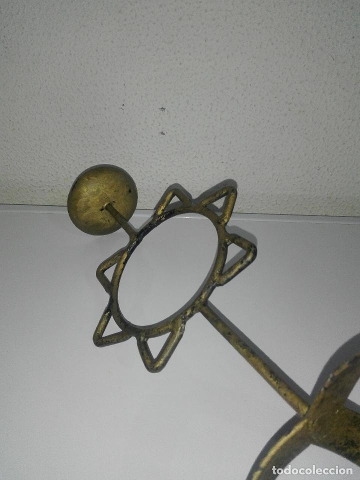 Antigüedades: precioso Portavelas de bronce con sol candelabro porta velas - Foto 9 - 88932776