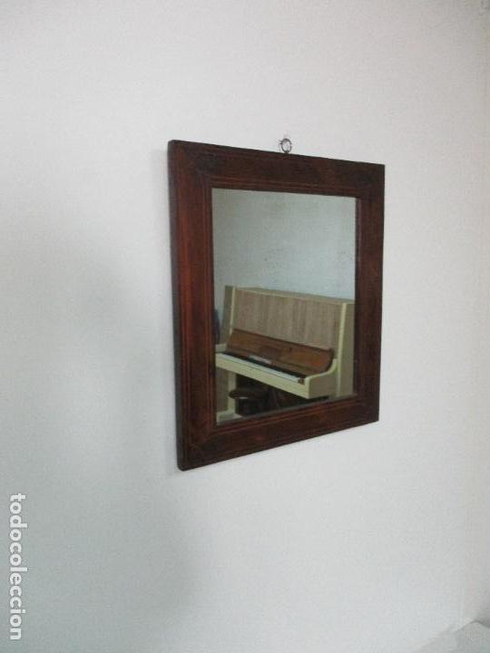 Antigüedades: Antiguo Espejo - Isabelino - Madera Jacarandá - Espejo de Época - 46 cm Ancho x 51,5 Altura - S. XIX - Foto 2 - 88947956