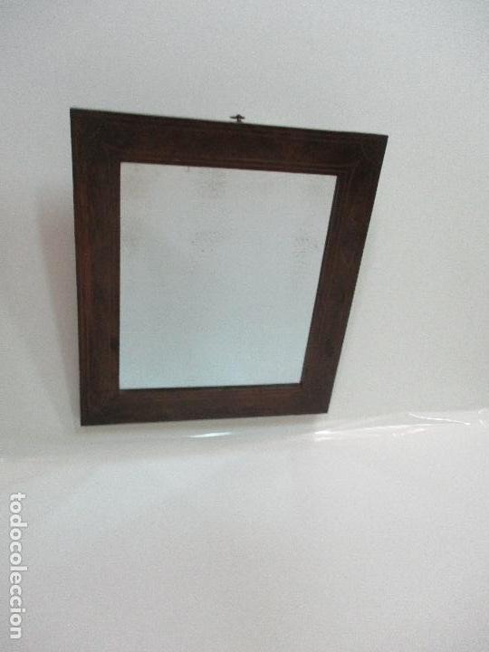 Antigüedades: Antiguo Espejo - Isabelino - Madera Jacarandá - Espejo de Época - 46 cm Ancho x 51,5 Altura - S. XIX - Foto 7 - 88947956