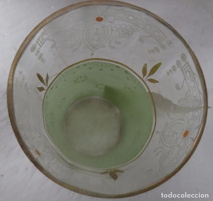 Antigüedades: RECIPIENTE ANTIGUO VERDE PINTADO A MANO 5000 - 150 - Foto 6 - 88949688