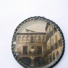 Antigüedades: ANTIGUO ESPEJO AÑOS 40 / ESTADILLA - PLAZA MAYOR / HUESCA / METACRILATO - HILO METALICO TRENZADO. Lote 88979004