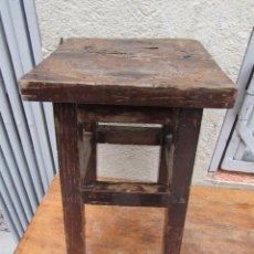 Antigüedades: TABURETE BANQUETA ANTIGUO EN MADERA DE ROBLE .. Lote 88997940
