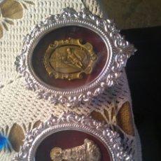 Antigüedades: PAREJA DE PORTA PAZ EN PLATA. Lote 88999872