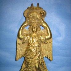 Antigüedades: ANTIGUA FIGURA MODERNISTA EN BRONCE DE 1500GR A DOBLE CARA 28X12 CM. Lote 89013836