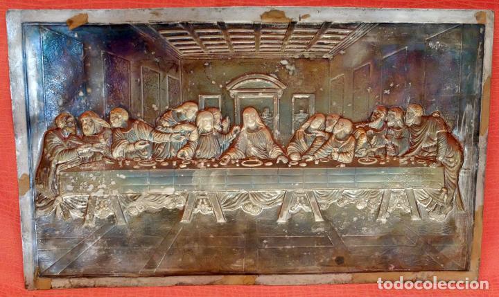 Antigüedades: JUAN ANTONI CASADESUS (Barcelona, act. 1ª mitad sig.xx) PLAFON DE LA SANTA CENA EN PLATA REPUJADA - Foto 11 - 89039992