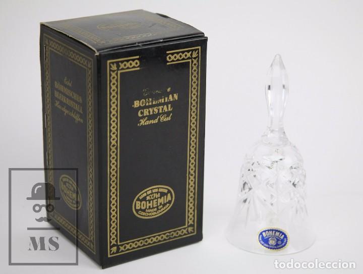 Antigüedades: Campanilla / Campana de Cristal de Bohemia - Tallado a Mano, 24% PbO - Checoslovaquia - Foto 2 - 89056960