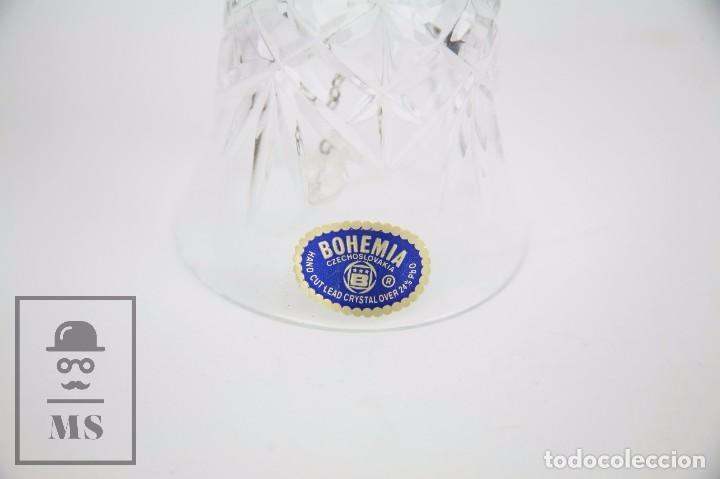 Antigüedades: Campanilla / Campana de Cristal de Bohemia - Tallado a Mano, 24% PbO - Checoslovaquia - Foto 6 - 89056960