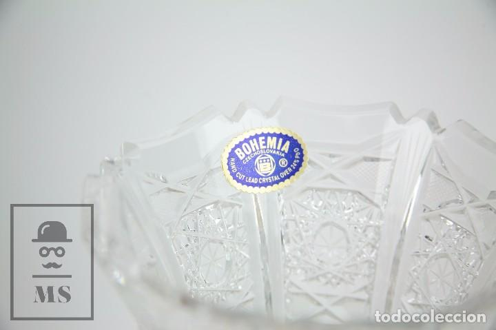 Antigüedades: Jarrón de Cristal de Bohemia - Tallado a Mano, 24% PbO - Caja Original - Checoslovaquia - Foto 8 - 89058024