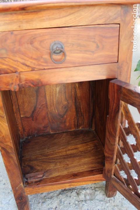 Antigüedades: ANTIGUA MESA MESITA O MESILLA AUXILIAR EN MADERA NOBLE Casa rustica o de madera - Foto 7 - 89076860