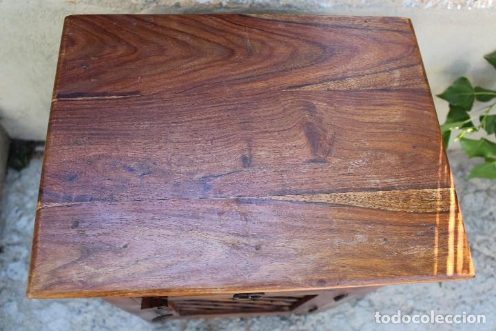 Antigüedades: ANTIGUA MESA MESITA O MESILLA AUXILIAR EN MADERA NOBLE Casa rustica o de madera - Foto 8 - 89076860
