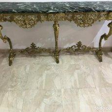 Antigüedades: CONSOLA DE MÁRMOL VERDE Y BRONCE. Lote 89085476