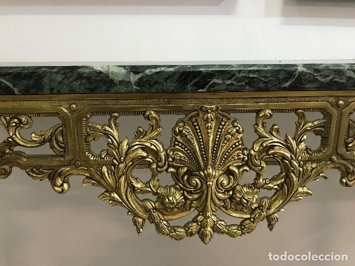 Antigüedades: Consola de Mármol verde y Bronce - Foto 4 - 89085476