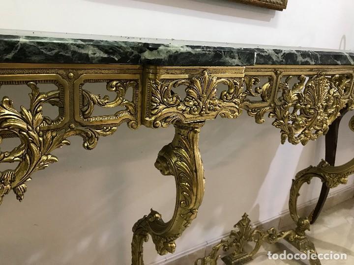 Antigüedades: Consola de Mármol verde y Bronce - Foto 5 - 89085476