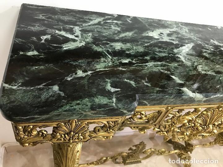 Antigüedades: Consola de Mármol verde y Bronce - Foto 6 - 89085476