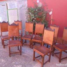 Antigüedades: CONJUNTO DE 8 SILLAS. MADERA DE NOGAL, CUERO Y TACHUELAS DE HIERRO. PRINCIPIO SG XX. Lote 89087252