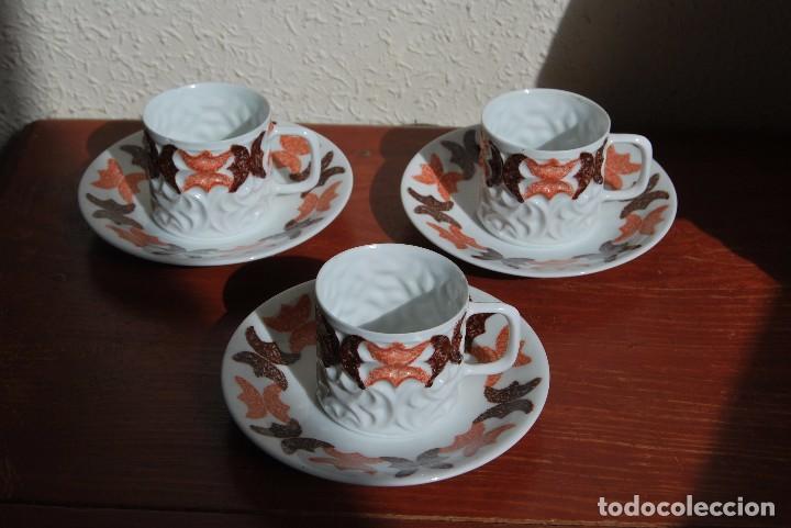 JUEGO DE TRES TAZAS Y TRES PLATOS DE CASTRO - CERÁMICA SARGADELOS (Antigüedades - Porcelanas y Cerámicas - Sargadelos)