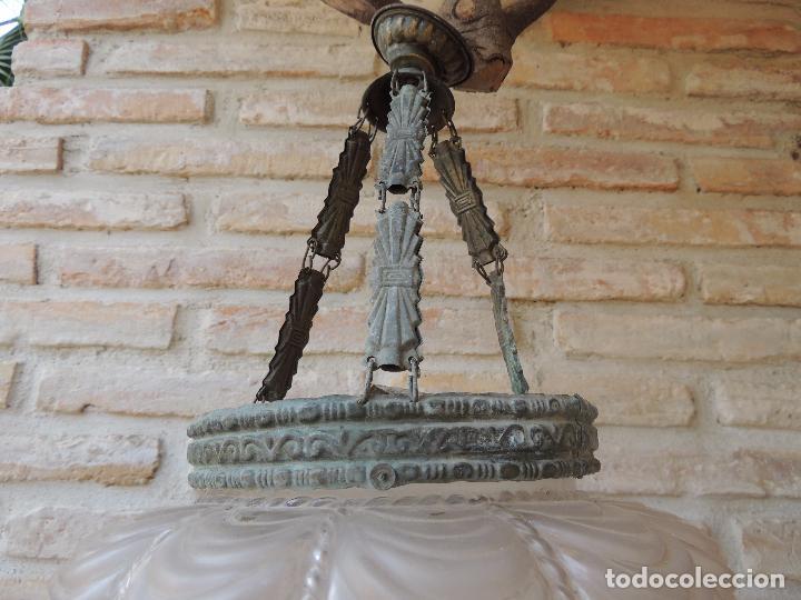 Antigüedades: LAMPARA ANTIGUA CON UNA TULIPA MUY BONITA. - Foto 2 - 124559007