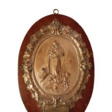 Antigüedades: ANTIGUA BENDITERA DE SAN JOSÉ CON ANGELES O QUERUBINES, , CRISTAL, MADERA Y COBRE PLATEADO,. Lote 89120464