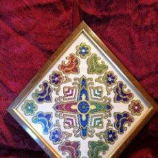 Antigüedades: ANTIGUO TAPIZ EN JACQUARD DE ALGODON SATEN ..TAPETE...ENMARCADO ----ROMBO--ROMBOIDAL. Lote 89121716