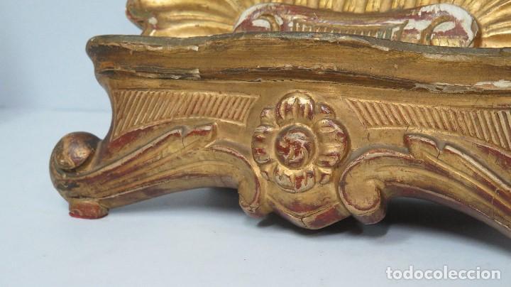Antigüedades: ANTIGUO ATRIL DE MADERA EN PAN DE ORO EN FORMA DE CONCHA O VENERA. SIGLO XVIII - Foto 2 - 89214536