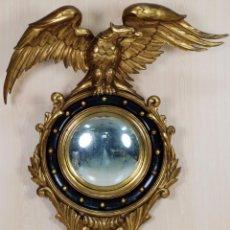 Antigüedades: ESPEJO REGENCY AMERICANO MADERA TALLADA Y DORADA HACIA 1900. Lote 89266424