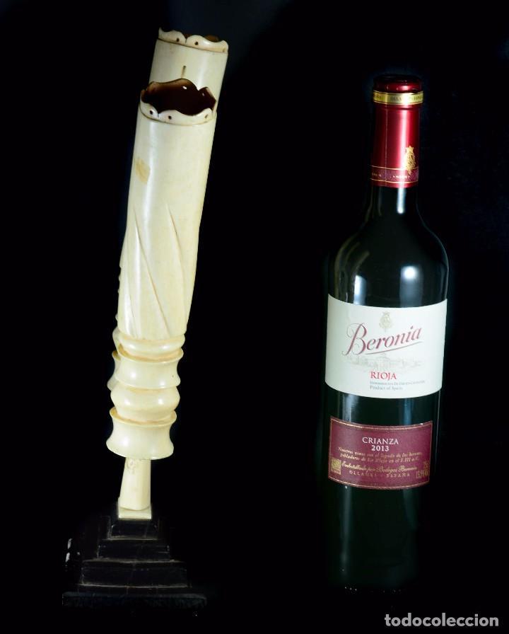 Antigüedades: Exquisito y gran violetero candelabro raro de marfil antiguo - Foto 2 - 89268048