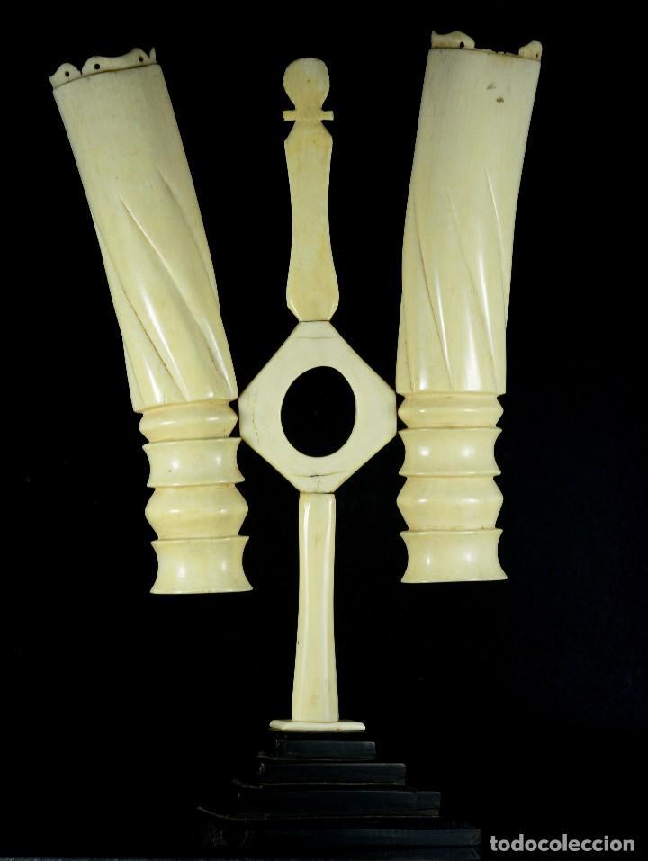 Antigüedades: Exquisito y gran violetero candelabro raro de marfil antiguo - Foto 3 - 89268048